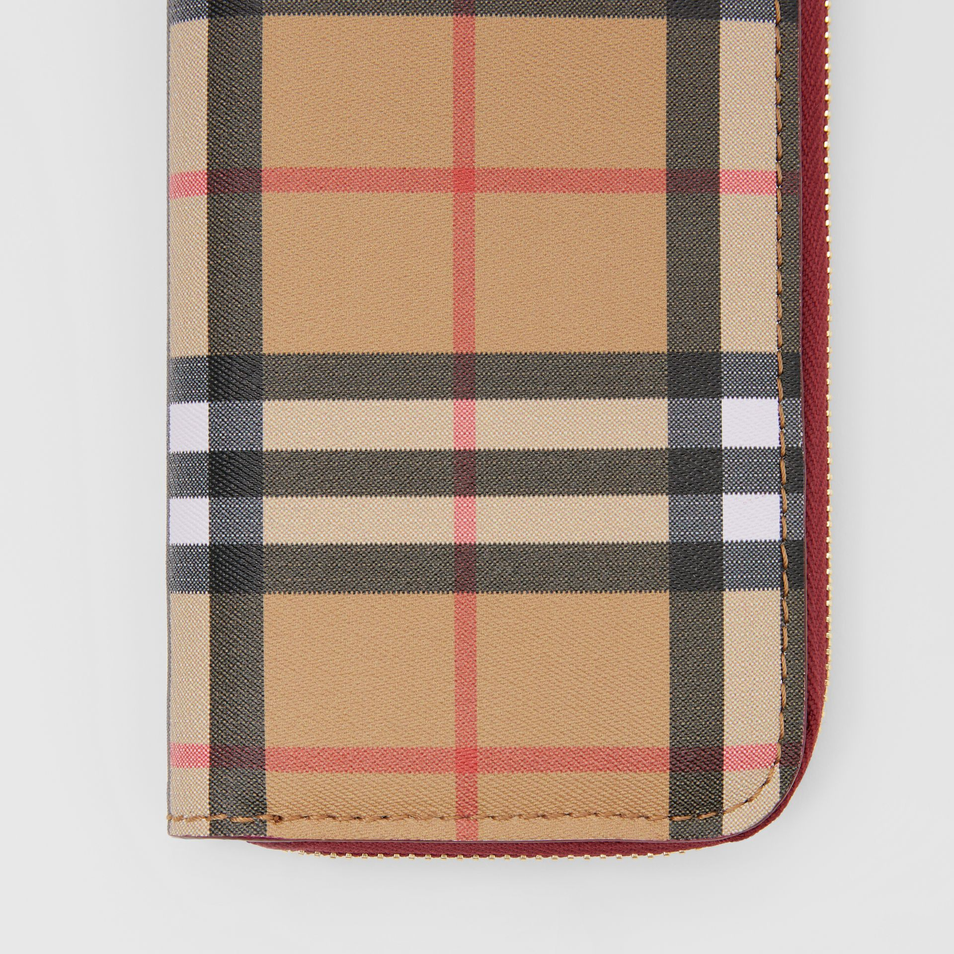 Vintage Check and Leather Ziparound Wallet in Crimson - Women | Burberry Hong Kong S.A.R - gallery image 1
