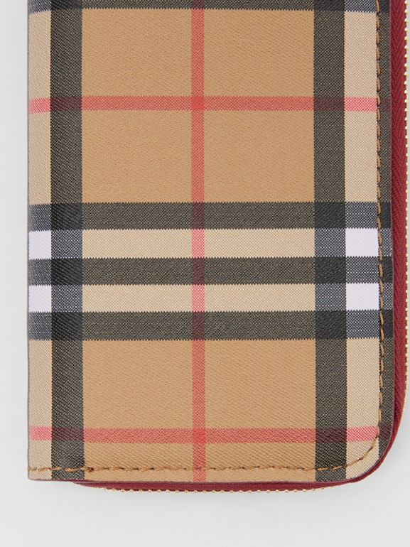 Vintage Check and Leather Ziparound Wallet in Crimson - Women | Burberry - cell image 1