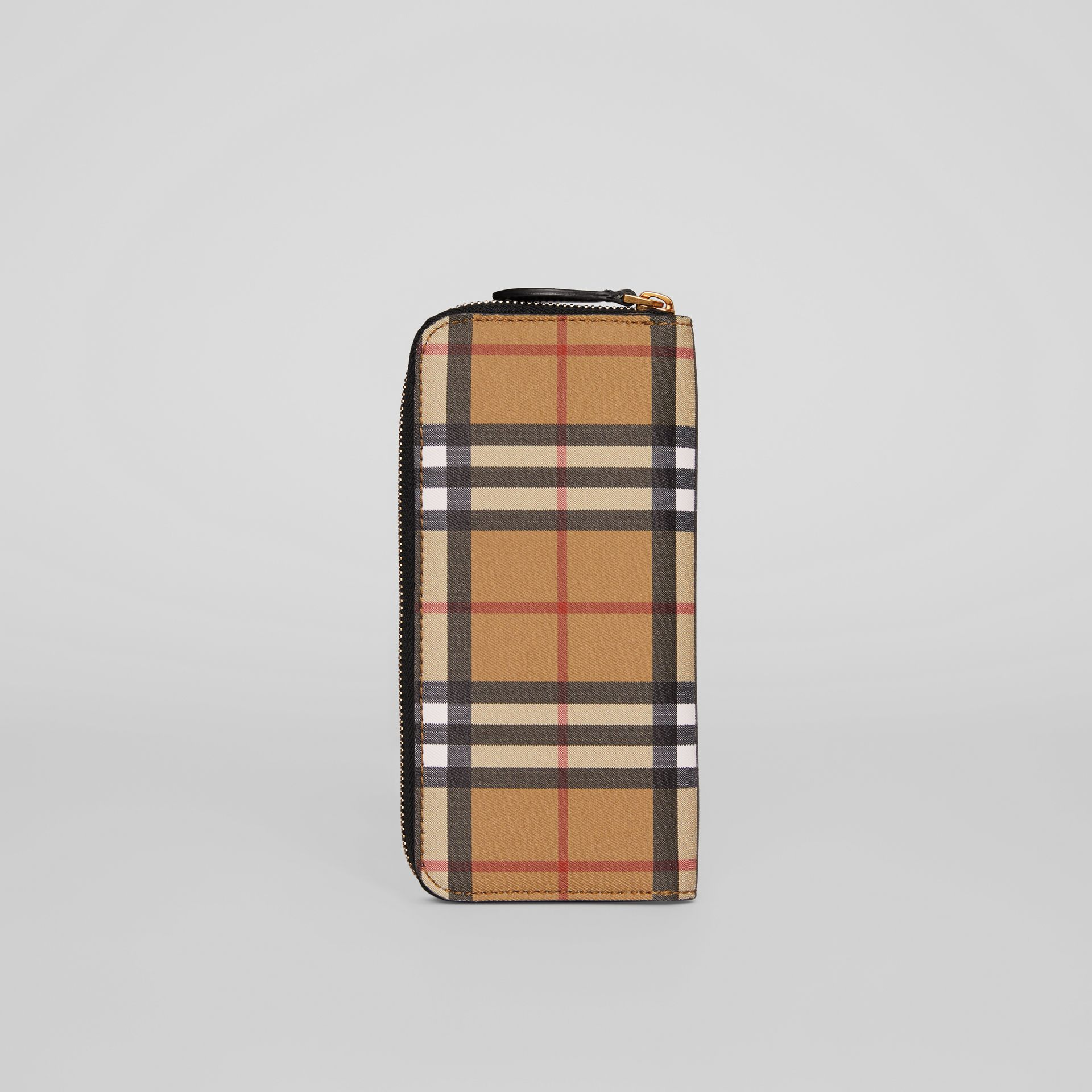 Vintage Check and Leather Ziparound Wallet in Black - Women | Burberry - gallery image 5
