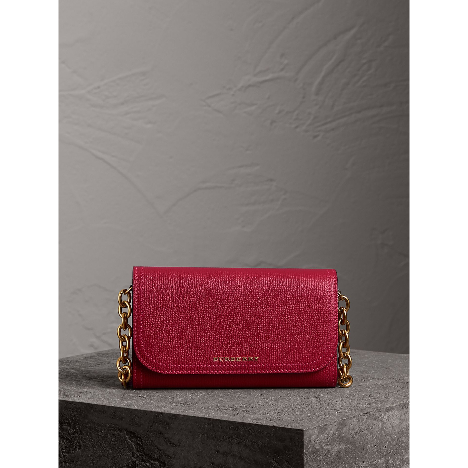Topstitch Detail Leather Wallet with Detachable Strap in Parade Red/multicolour - Women | Burberry Singapore - gallery image 5