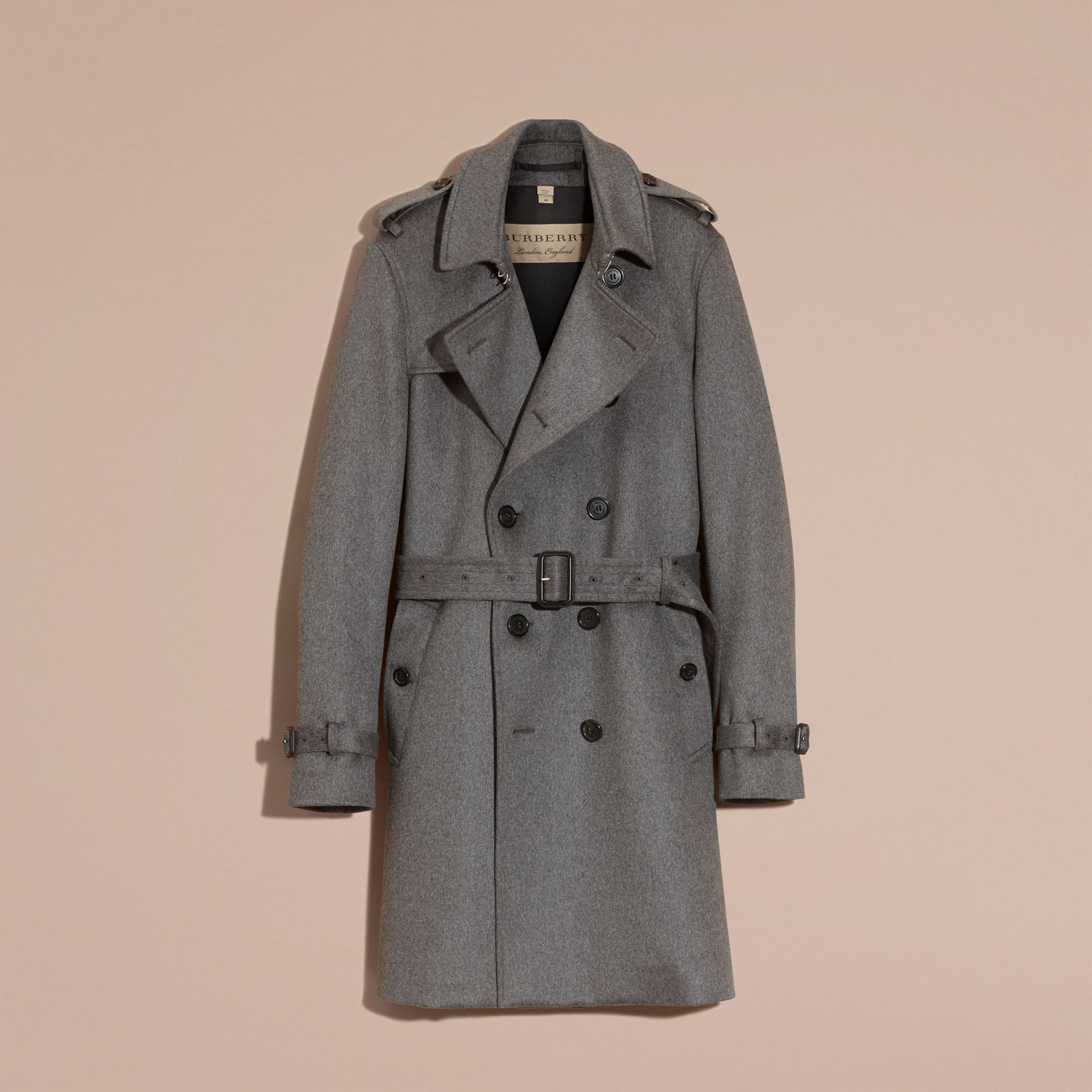 Cashmere Trench Coat in Dark Grey Melange - Men | Burberry - gallery image 3