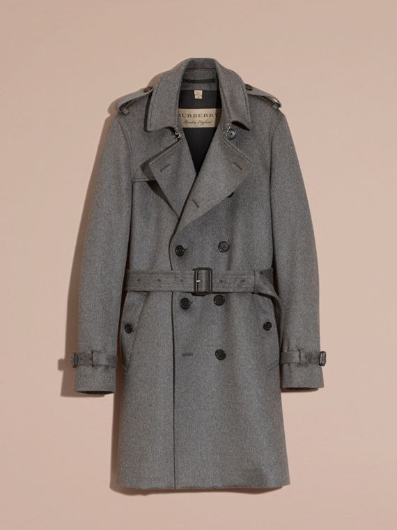 Cashmere Trench Coat Dark Grey Melange - cell image 2