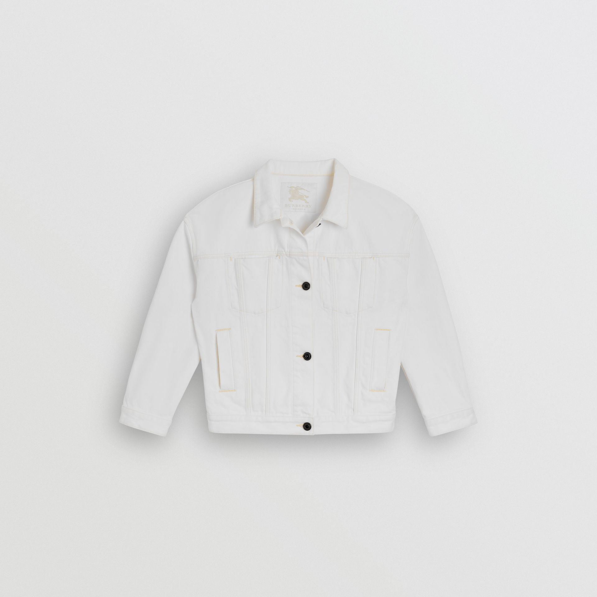Logo Print Denim Jacket in Natural White | Burberry - gallery image 0