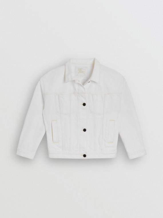 Logo Print Denim Jacket in Natural White