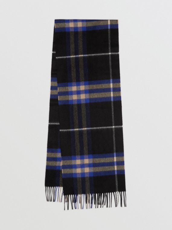 The Classic Cashmere Scarf in Check in Bright Cobalt