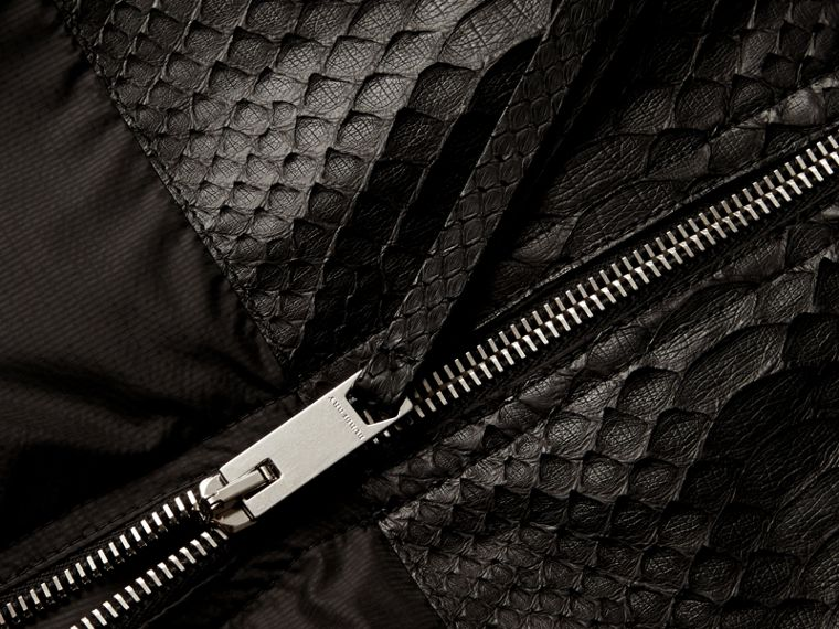 Lightweight Technical Bomber Jacket with Snakeskin in Black - Men | Burberry - cell image 1