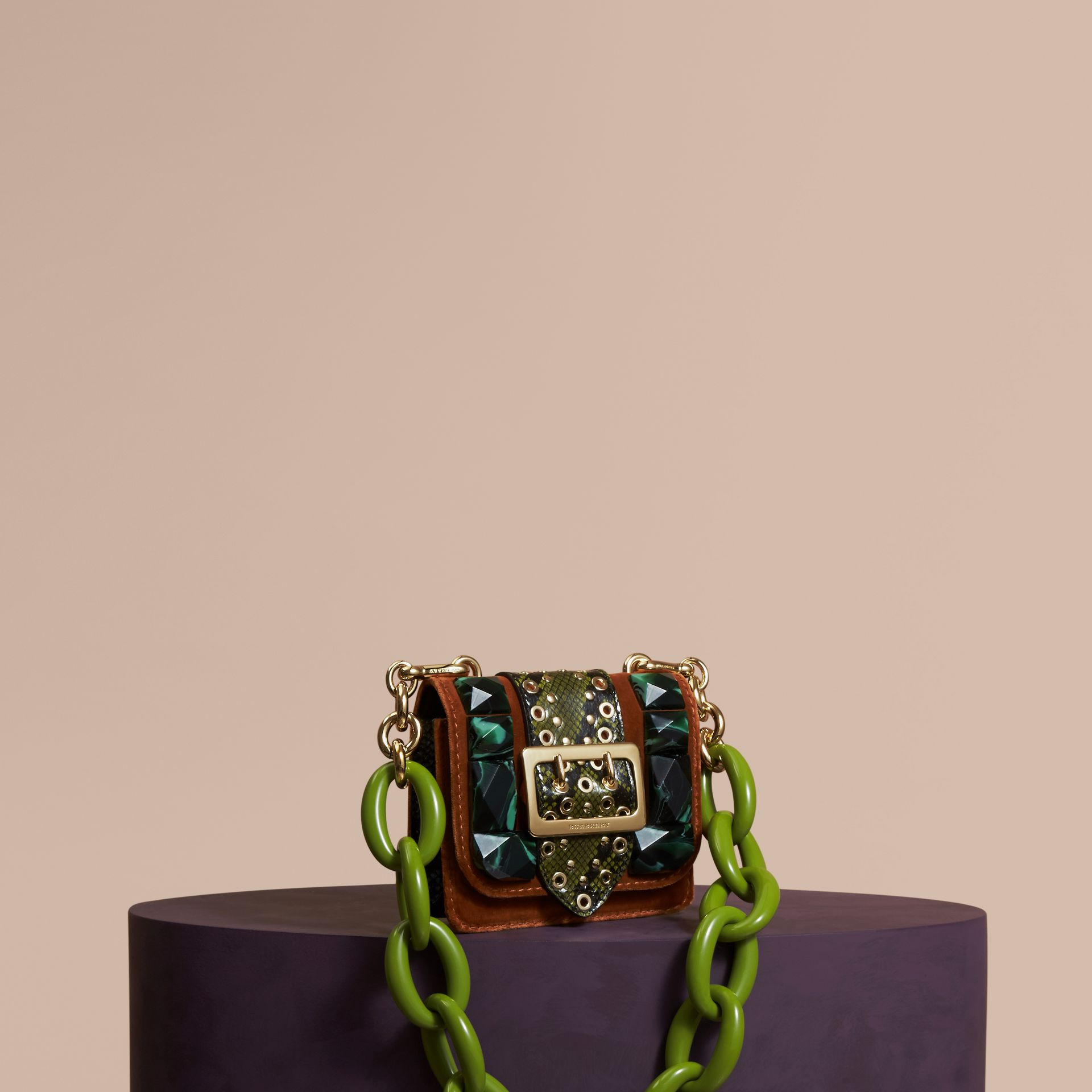 The Mini Square Buckle Bag in Velvet and Snakeskin - gallery image 1