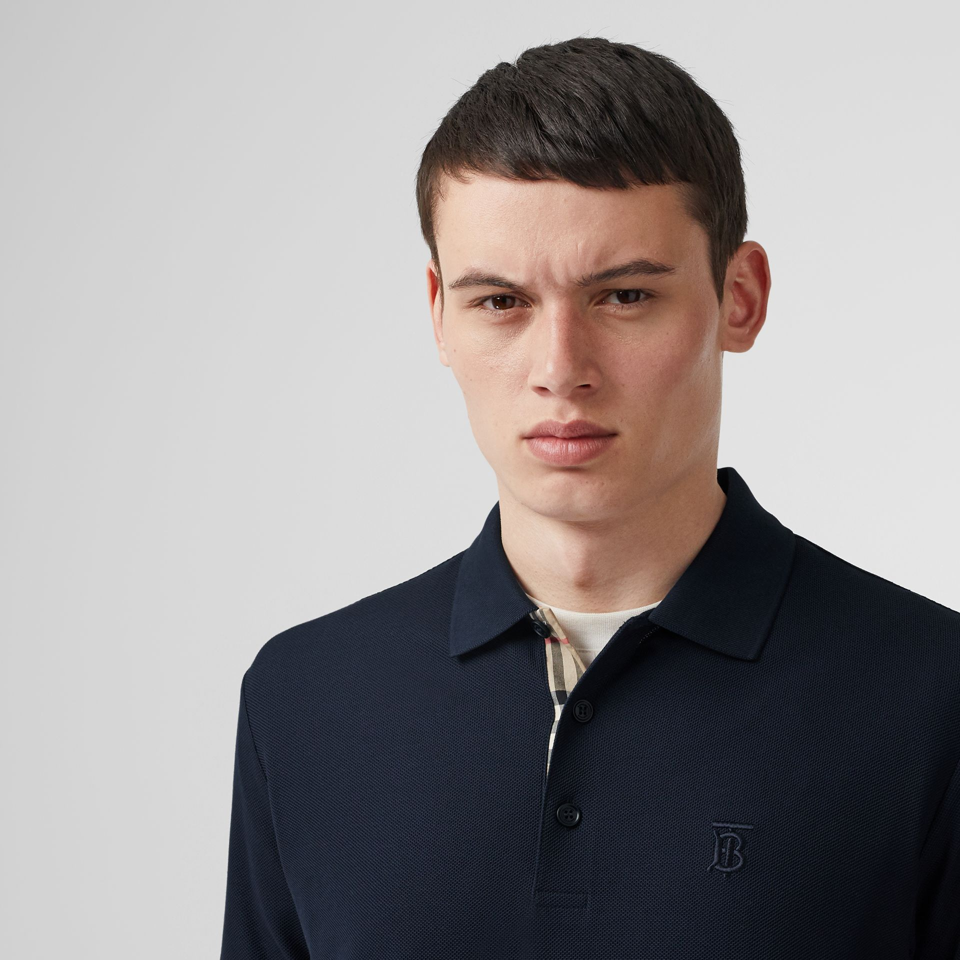 Monogram Motif Cotton Piqué Polo Shirt in Navy - Men | Burberry - gallery image 1