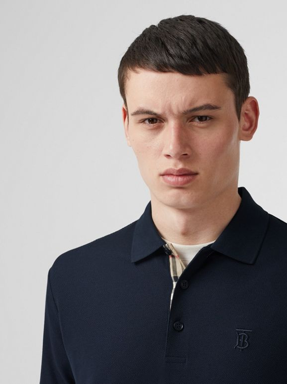 Monogram Motif Cotton Piqué Polo Shirt in Navy - Men | Burberry - cell image 1