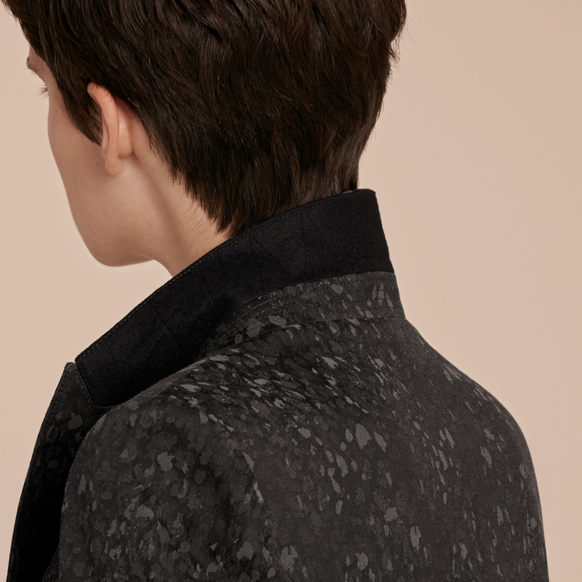 Dark grey Cotton Blend Jacquard Jacket - gallery image 6