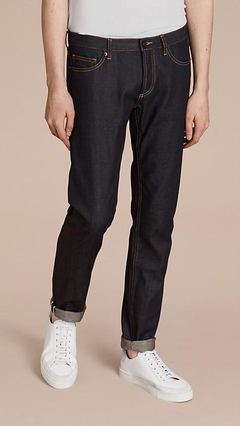 Indigo Skinny Fit Indigo Selvedge Jeans - Image 1
