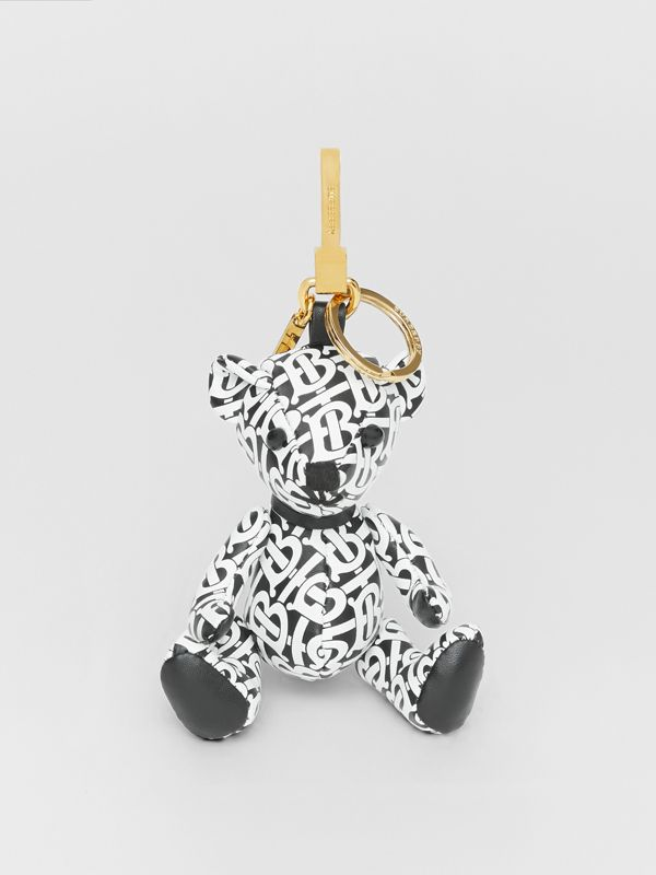 Thomas Bear Charm in Monogram Print Leather in Black/white - Women | Burberry Canada - cell image 2