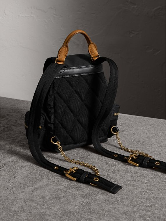 The Small Rucksack in Technical Nylon and Leather in Black - Women | Burberry Singapore - cell image 3