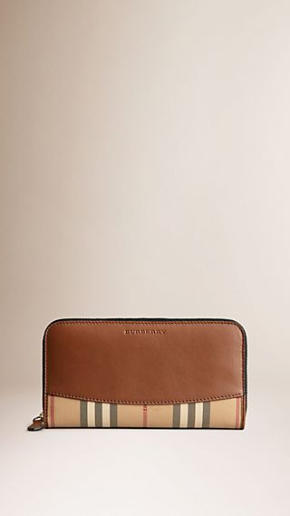 Horseferry Check and Leather Ziparound Wallet