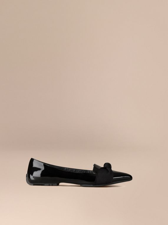 Patent Leather Loafers with Grosgrain Bow Black