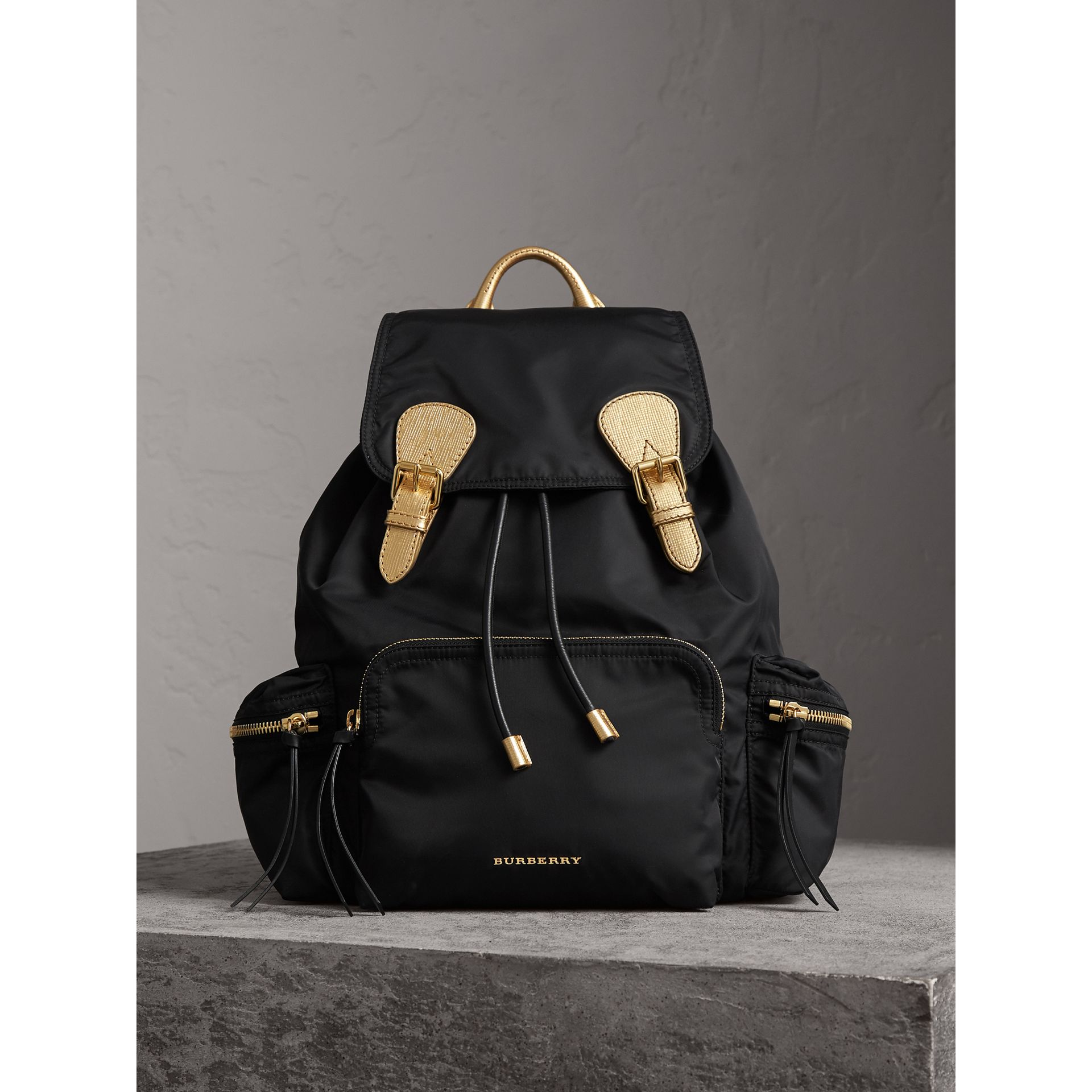 The Large Rucksack in Technical Nylon and Leather in Black/gold - Women | Burberry - gallery image 1