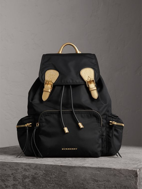 Zaino The Rucksack grande in nylon bicolore e pelle - Donna | Burberry