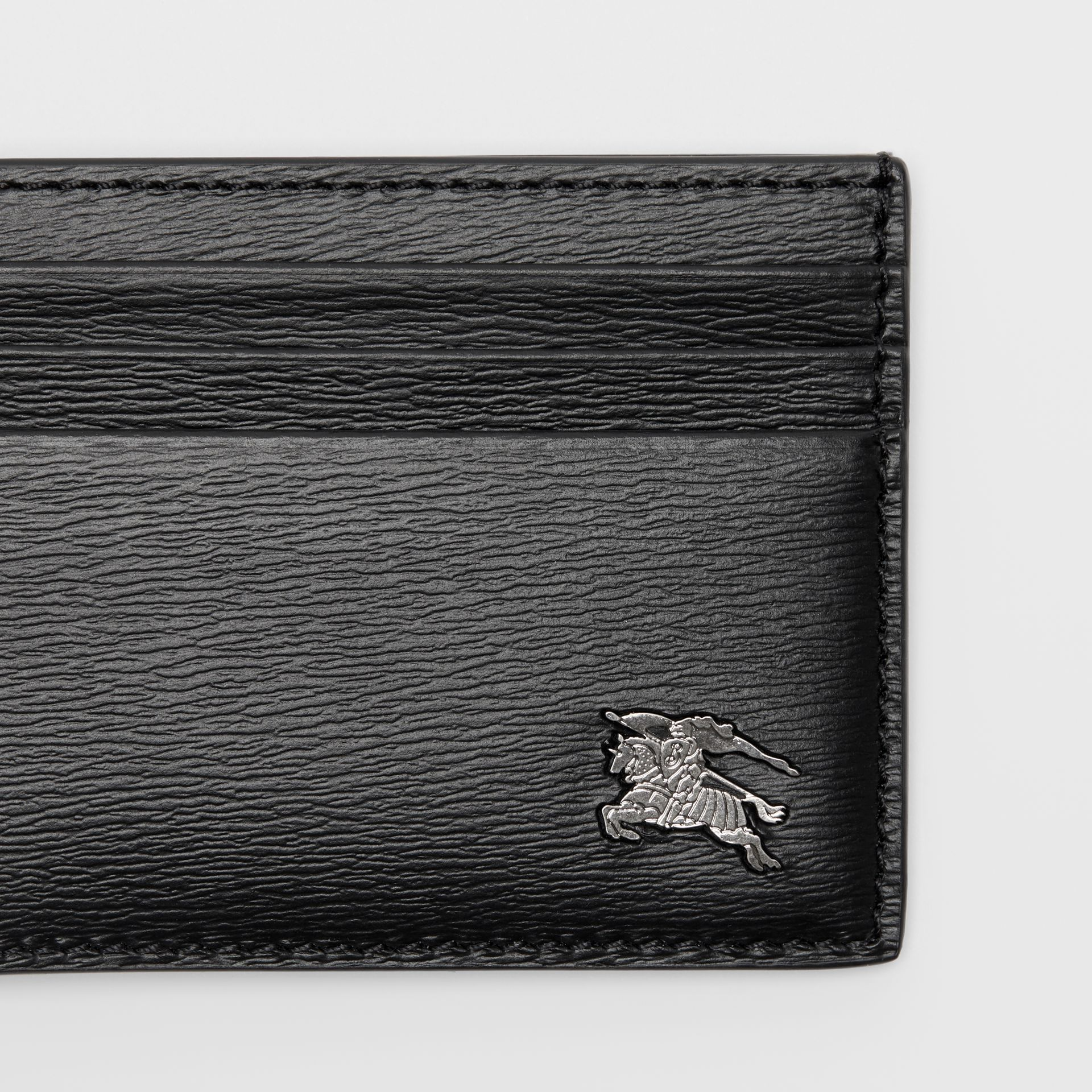 London Leather Money Clip Card Case in Black - Men | Burberry United States - gallery image 1