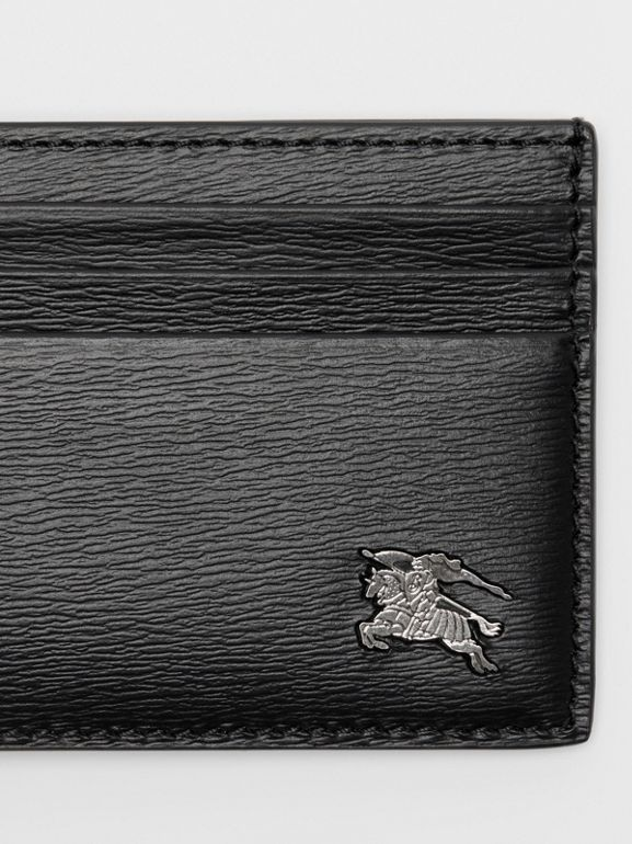 London Leather Money Clip Card Case in Black - Men | Burberry United States - cell image 1