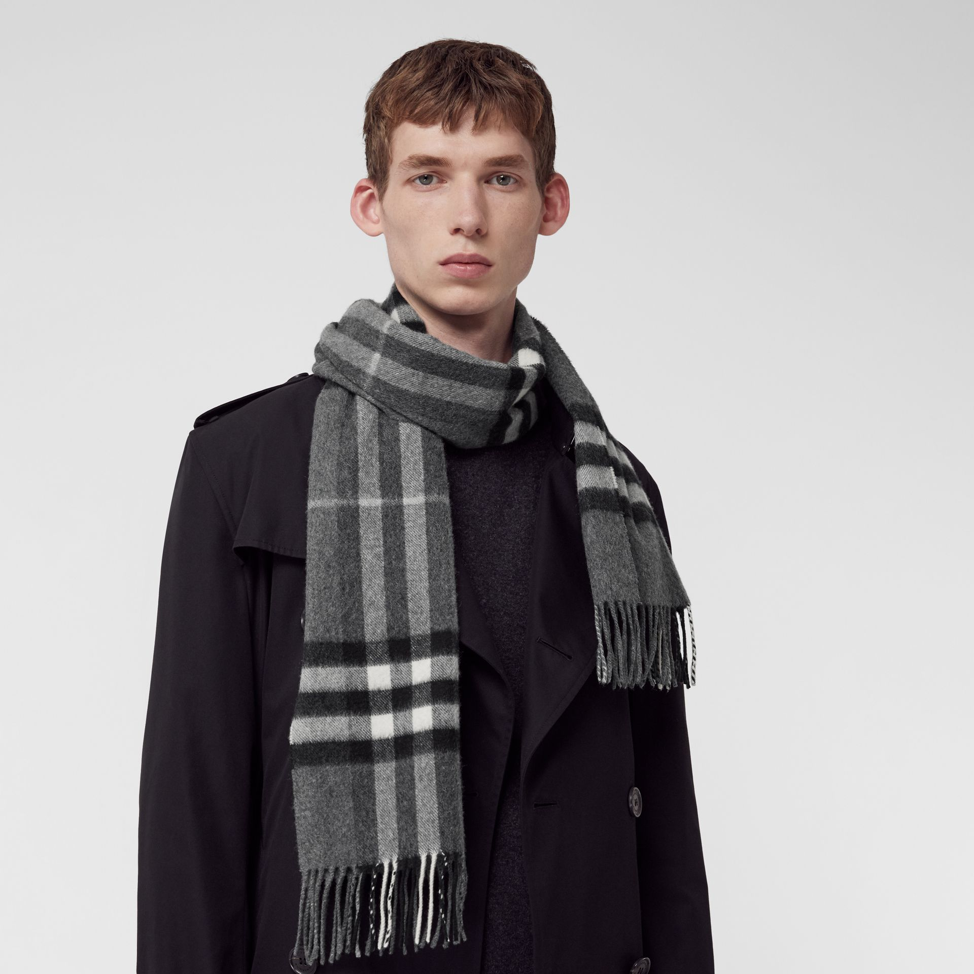 The Classic Check Cashmere Scarf in Mid Grey | Burberry United Kingdom - gallery image 5