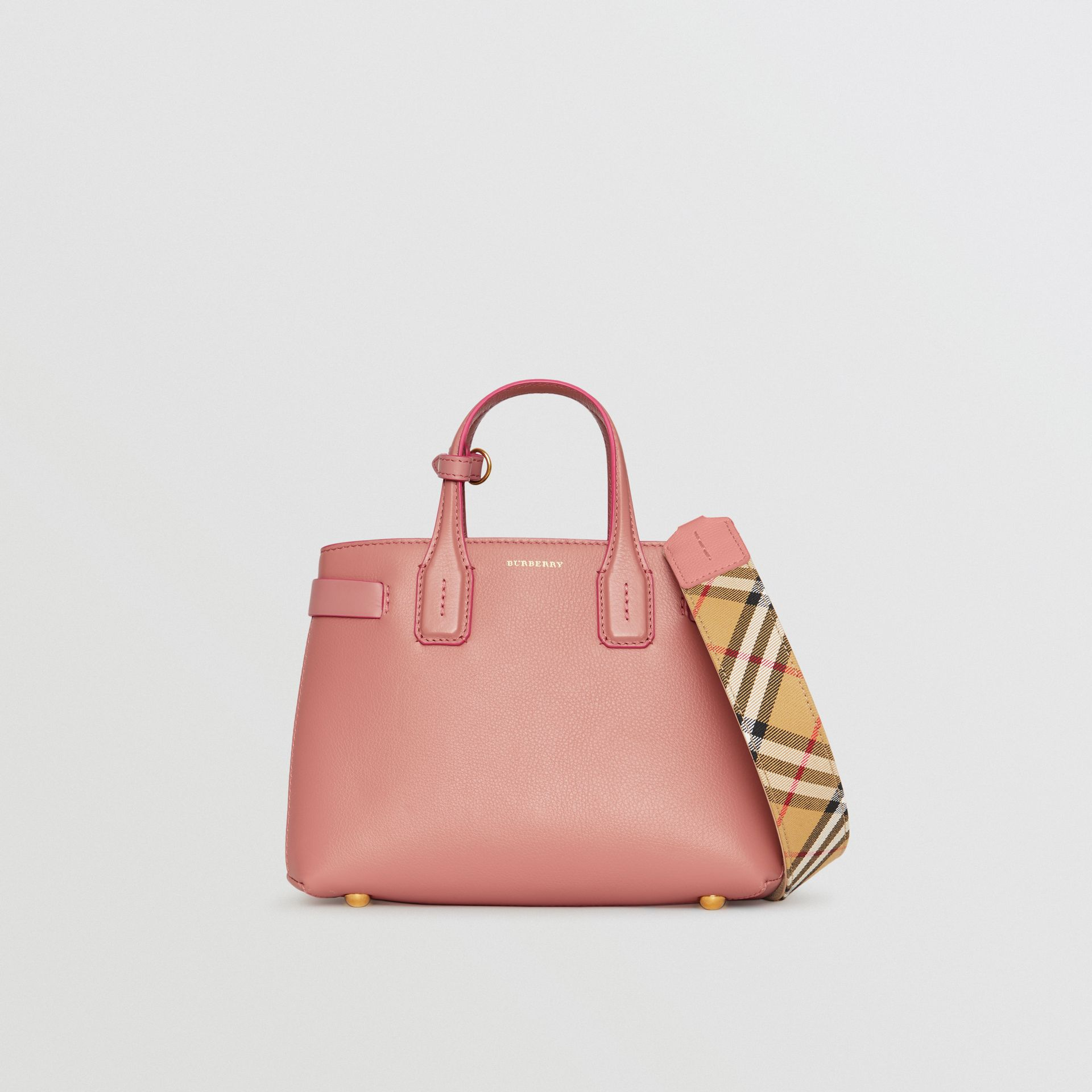 The Small Banner in Leather and Vintage Check in Dusty Rose - Women | Burberry Australia - gallery image 6