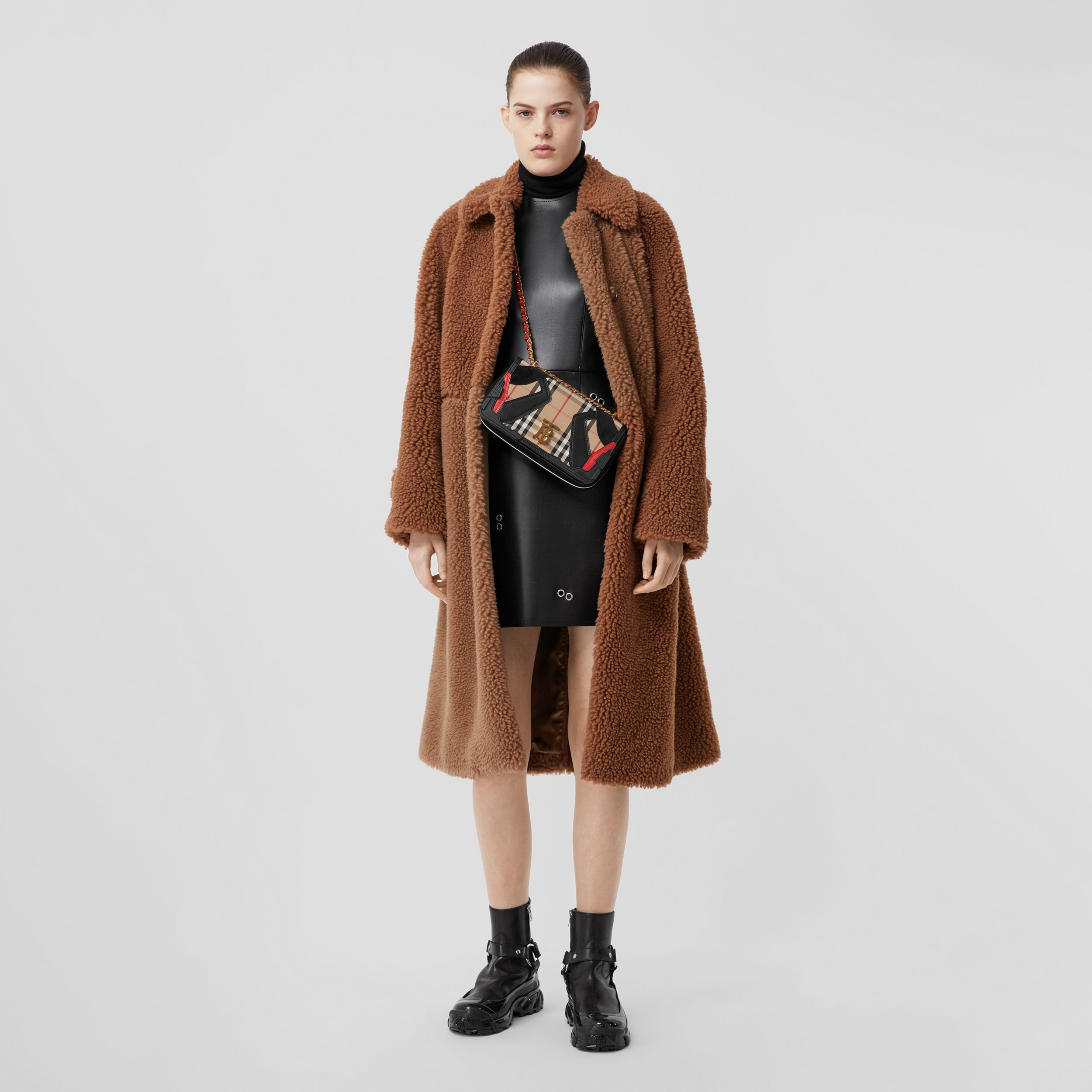 Faux Shearling and Camel Hair Blend Coat in Brown - Women | Burberry - 1