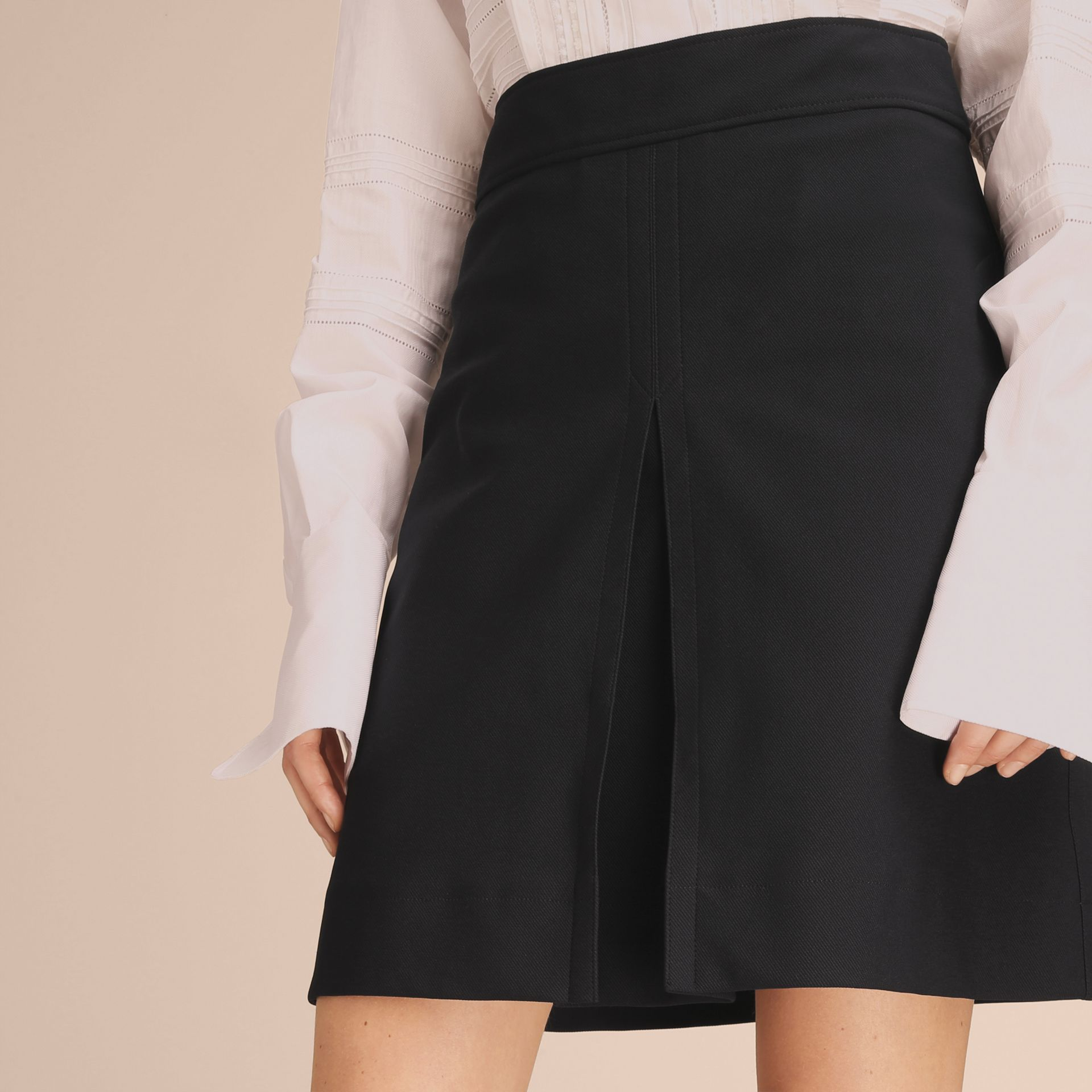 Stretch A-line Technical Skirt with Pleat Detail - gallery image 5