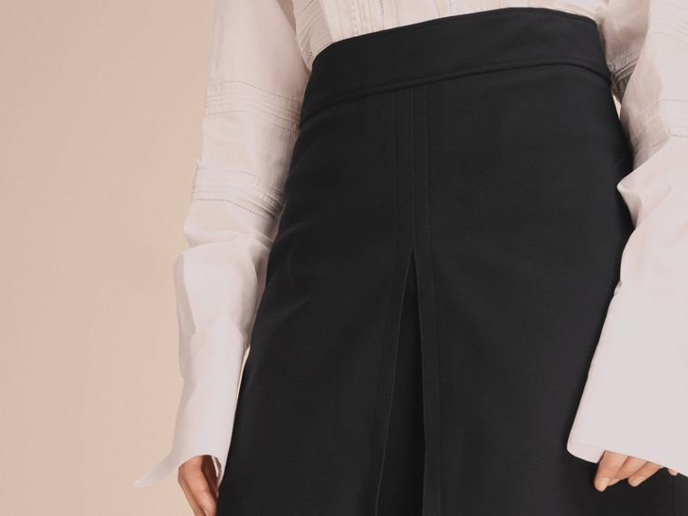 Stretch A-line Technical Skirt with Pleat Detail - cell image 4