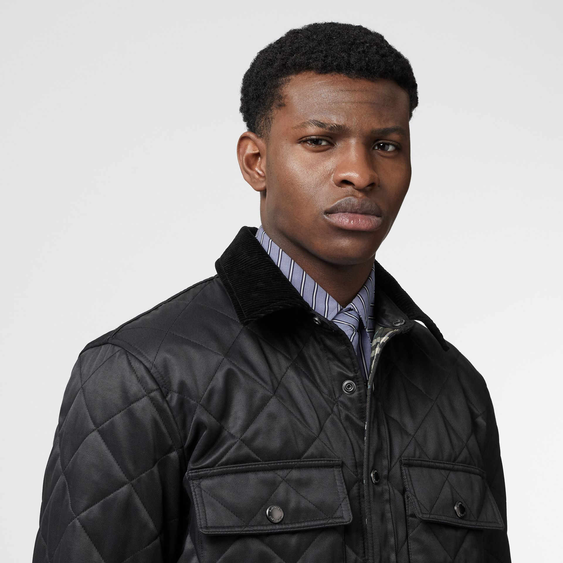 Diamond Quilted Thermoregulated Overshirt in Black - Men | Burberry United States - gallery image 7