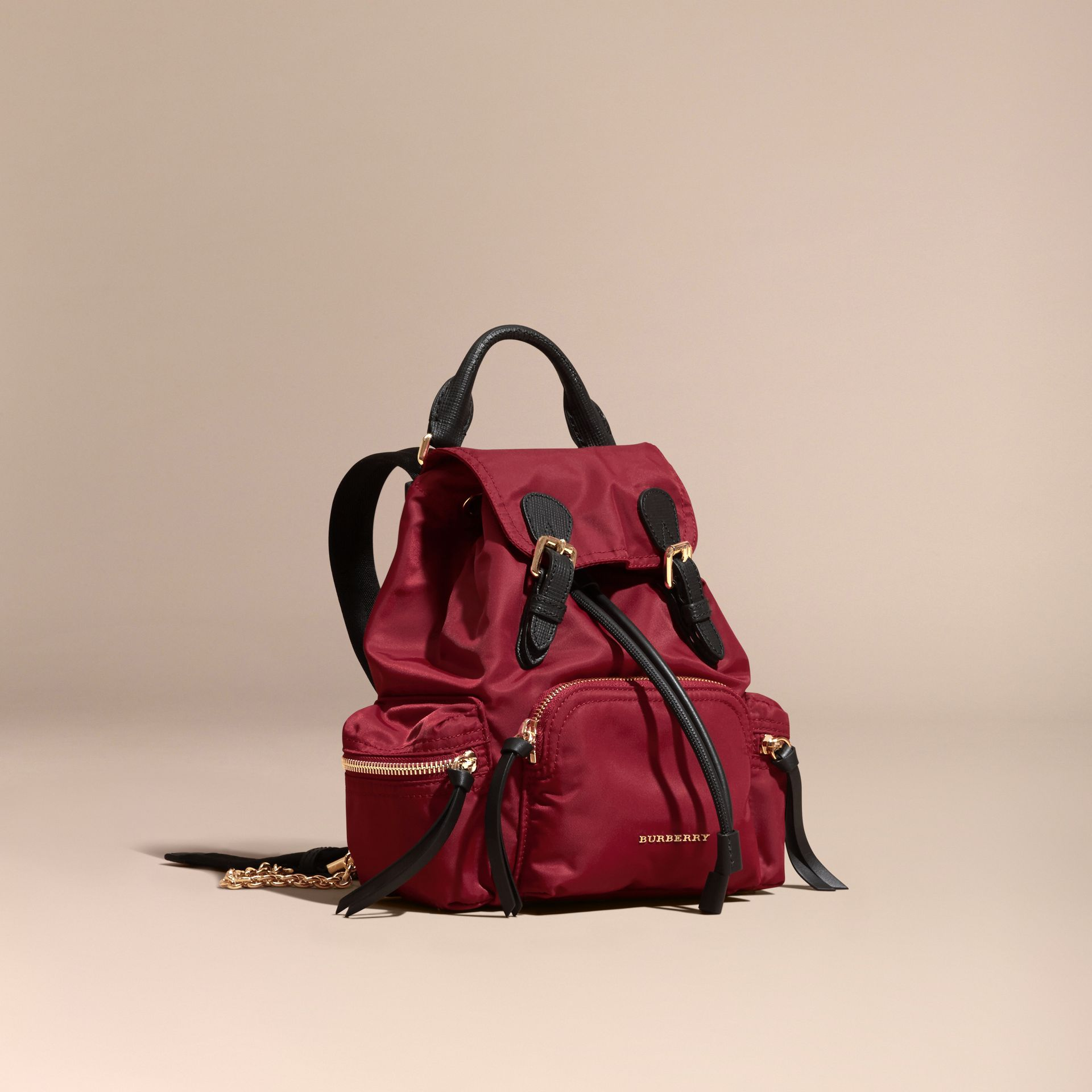 The Small Rucksack in Technical Nylon and Leather Parade Red - gallery image 1
