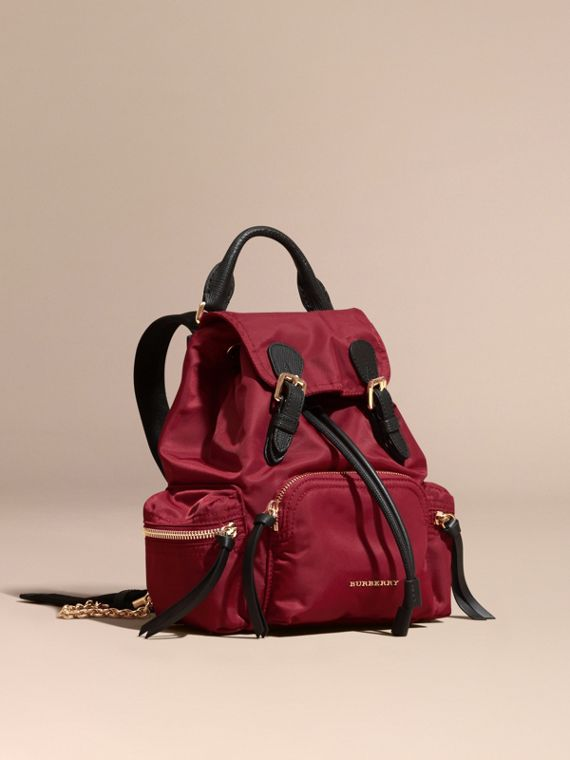 The Small Rucksack in Technical Nylon and Leather in Parade Red