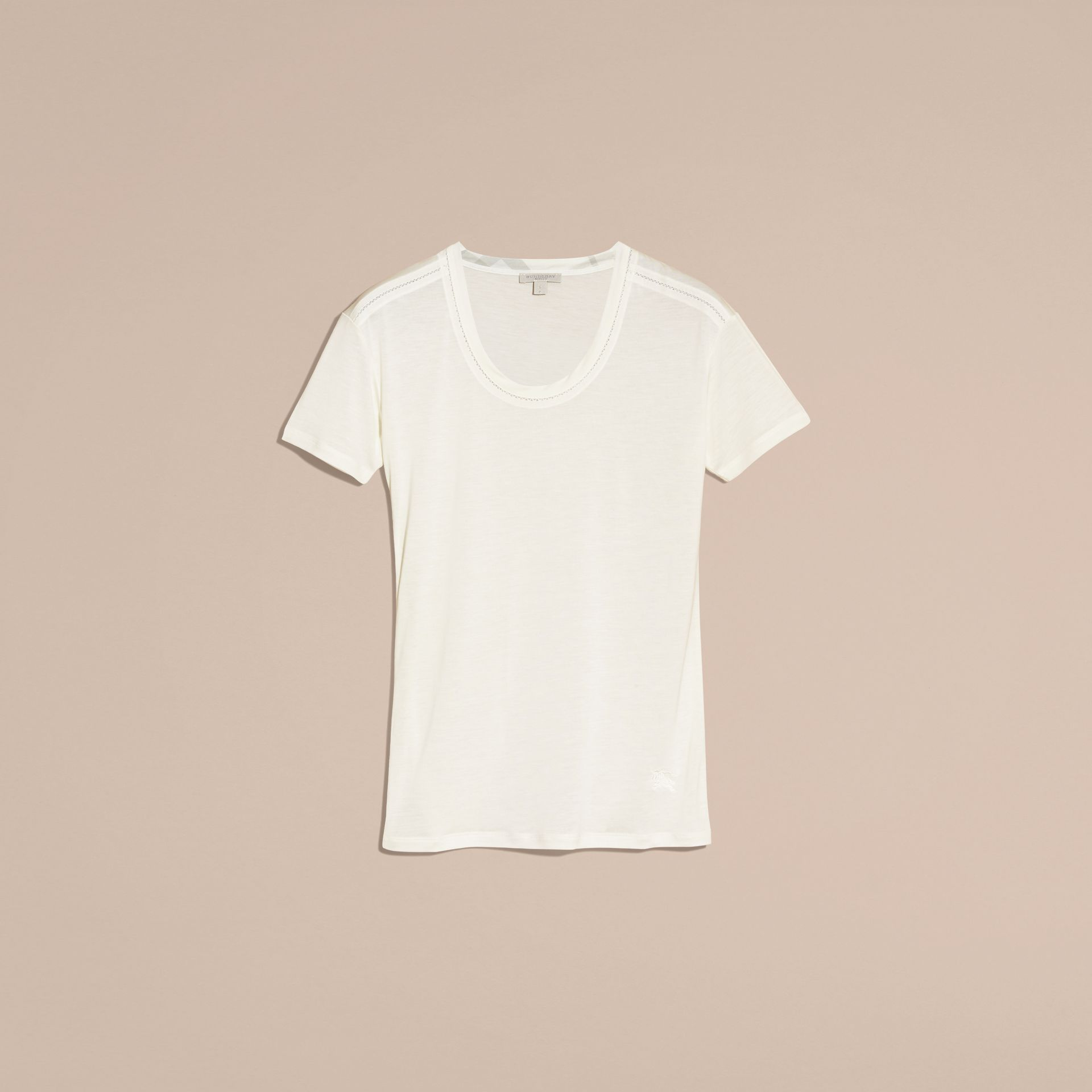 Natural white Scoop Neck Lyocell T-shirt Natural White - gallery image 4
