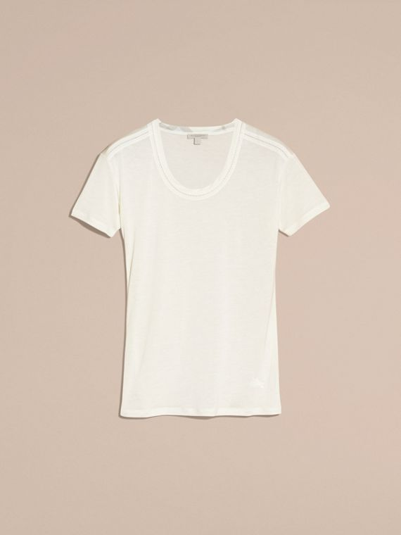 Natural white Scoop Neck Lyocell T-shirt Natural White - cell image 3