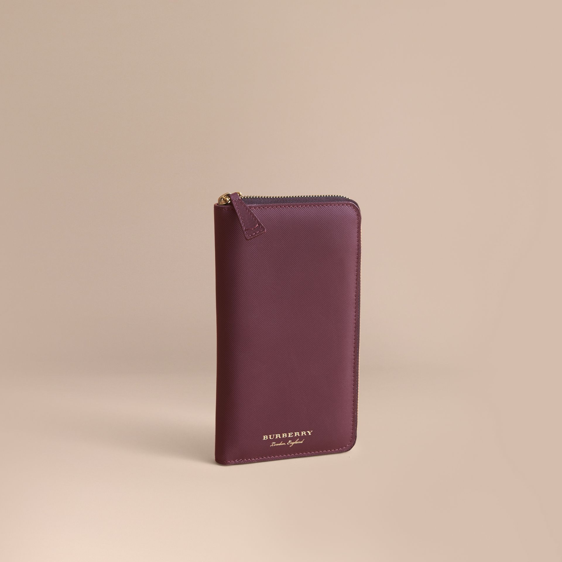 Trench Leather Ziparound Wallet Wine - gallery image 1