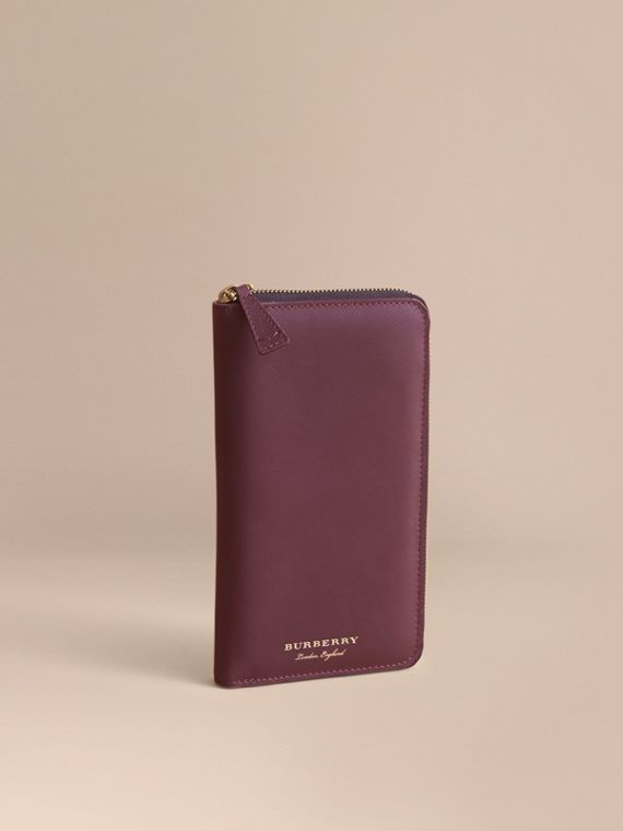 Trench Leather Ziparound Wallet Wine