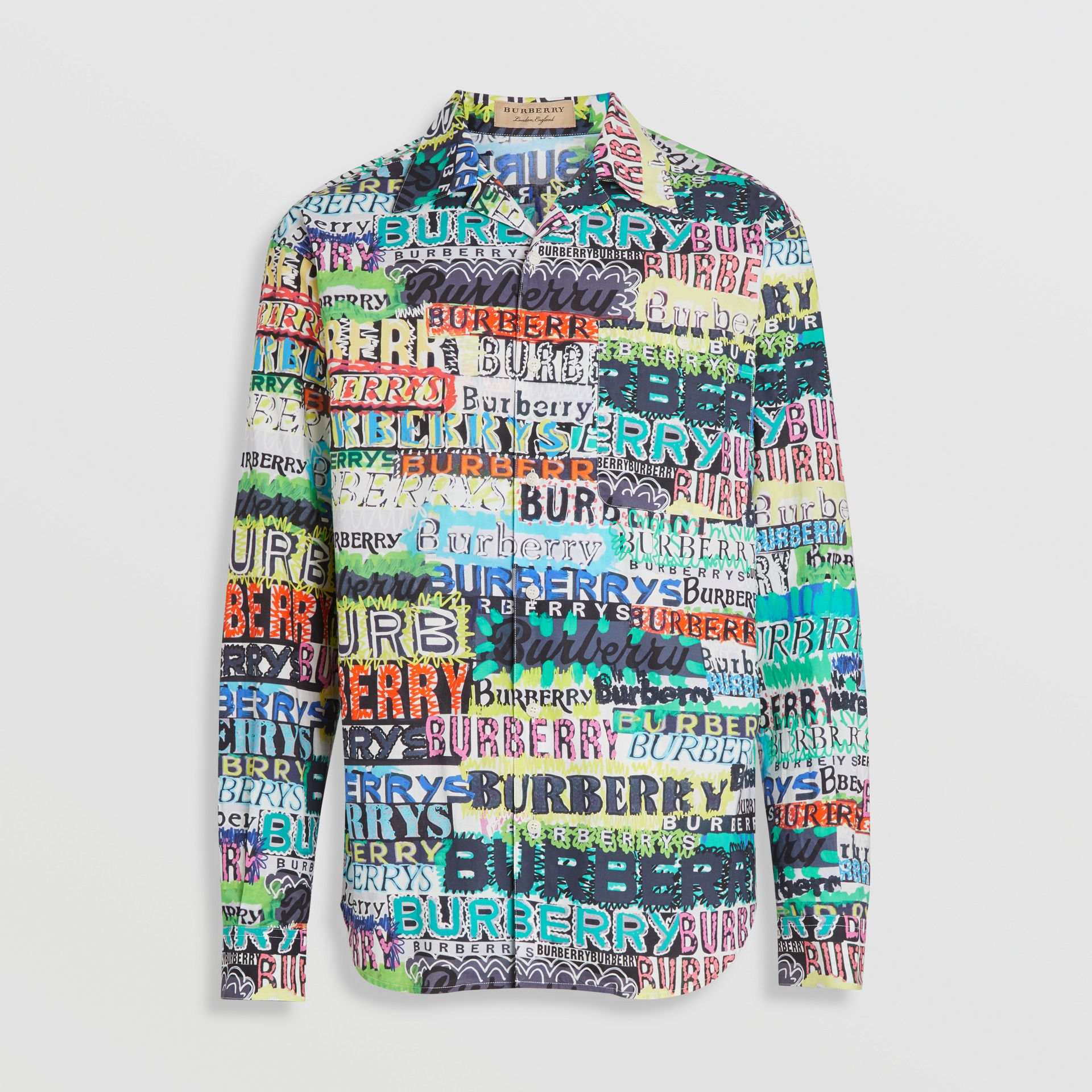 Graffiti Logo Print Cotton Shirt in Bright Green - Men | Burberry - gallery image 3