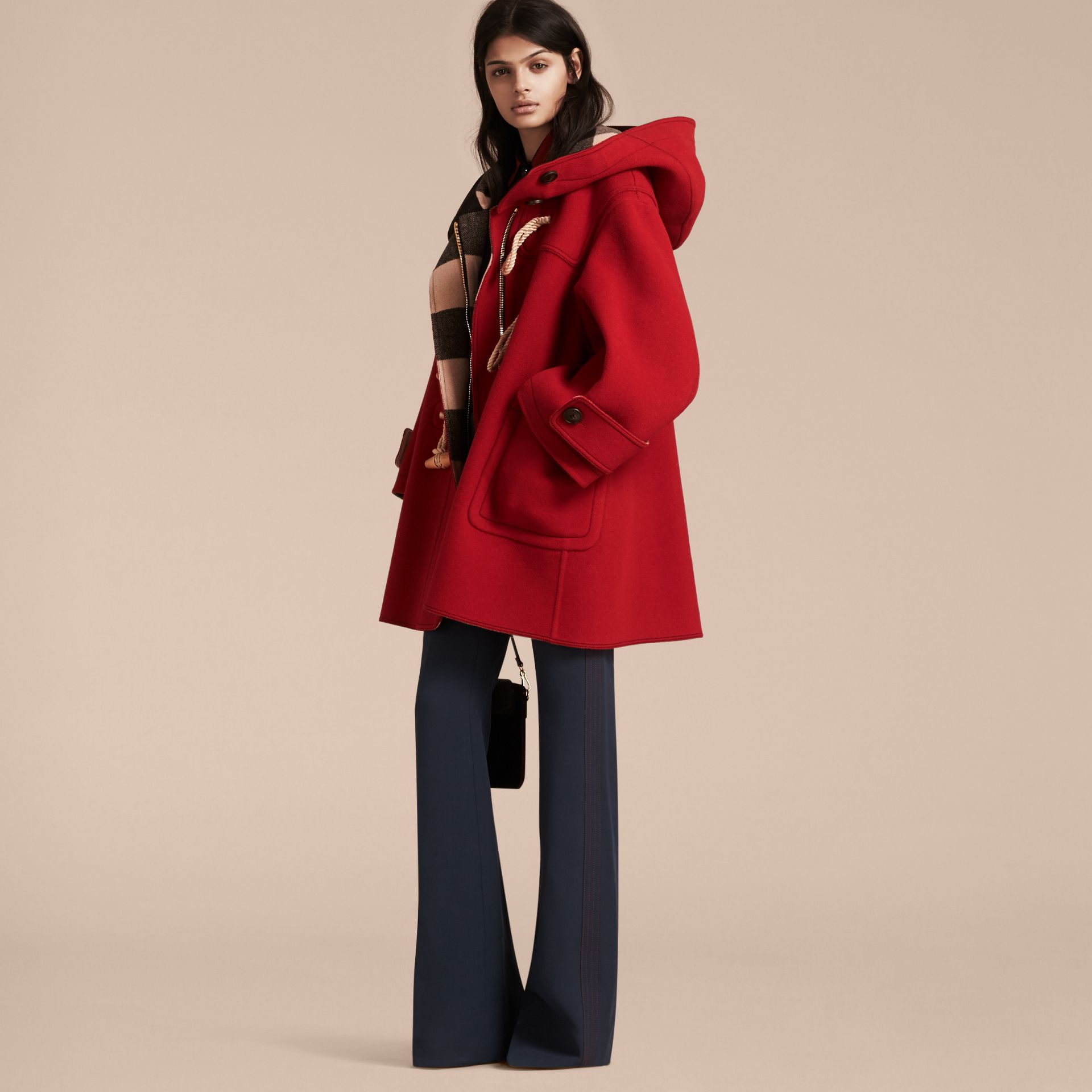Military red Double-faced Technical Wool Duffle Coat - gallery image 6