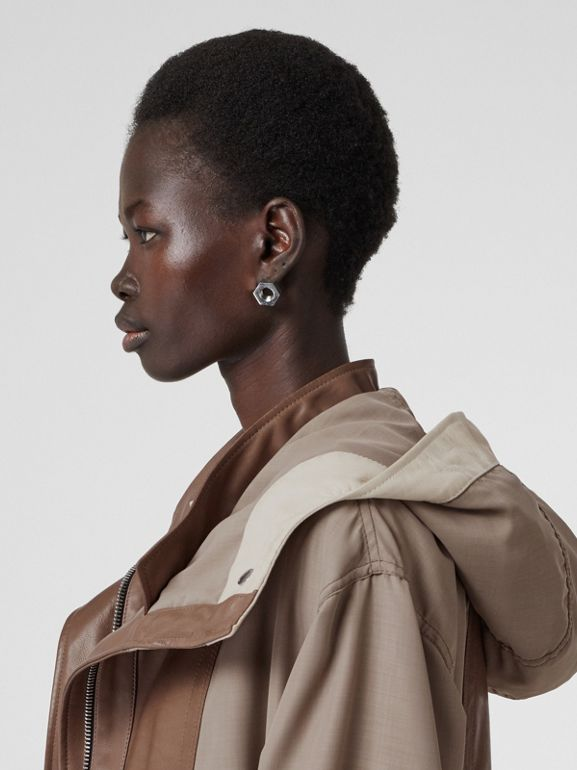 Leather Panelled Nylon Hooded Parka in Warm Taupe - Women | Burberry United Kingdom - cell image 1