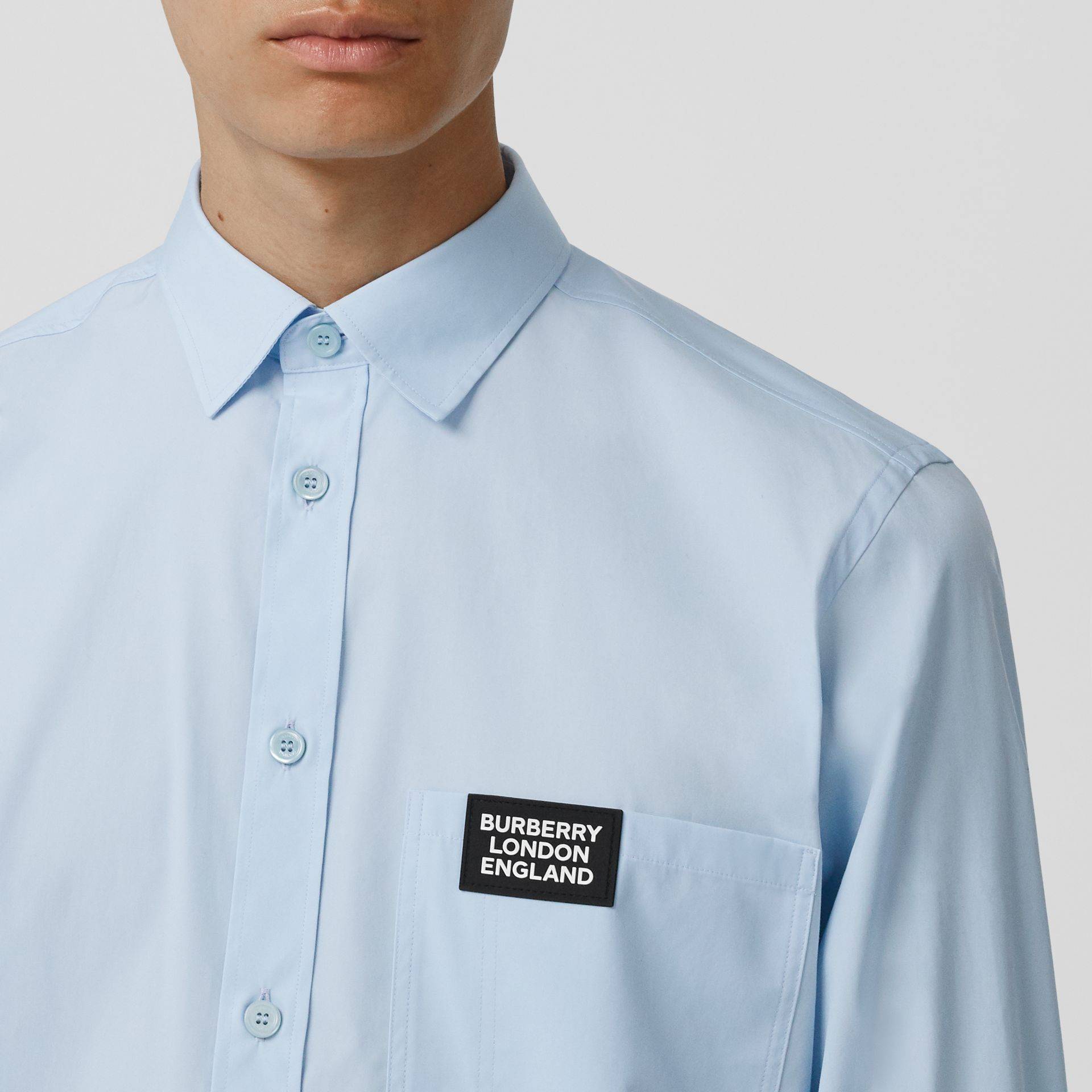 Logo Detail Stretch Cotton Poplin Shirt in Pale Blue - Men | Burberry - gallery image 1