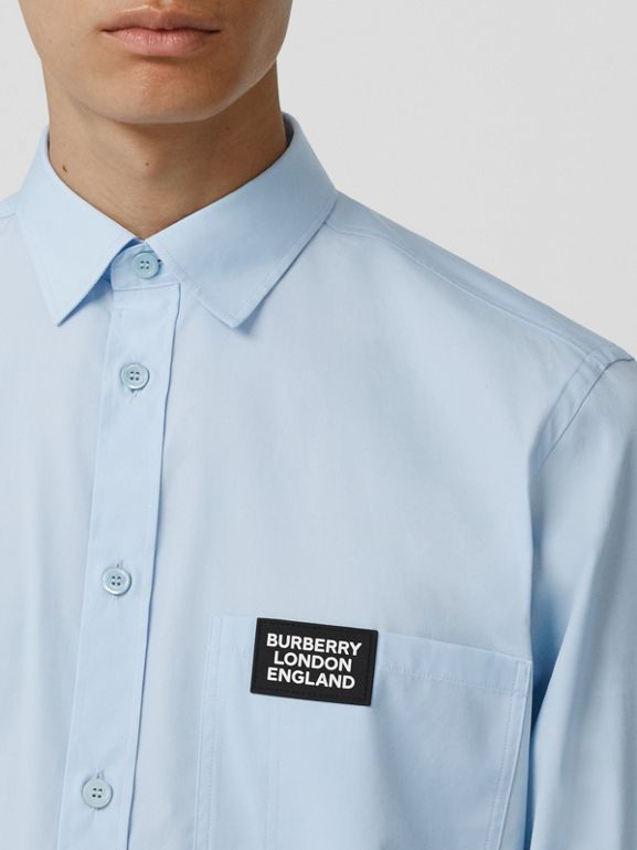 Logo Detail Stretch Cotton Poplin Shirt in Pale Blue - Men | Burberry Hong Kong S.A.R - cell image 1