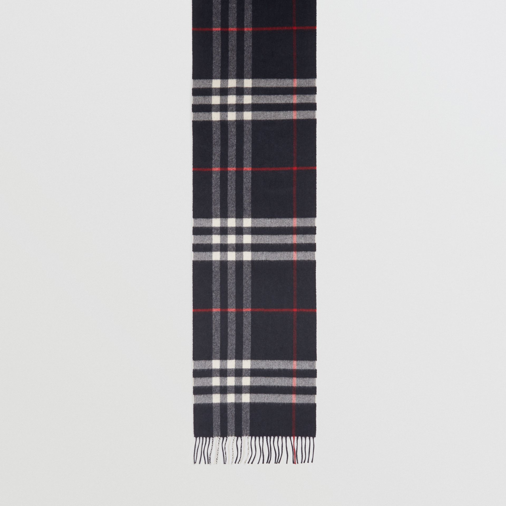 The Classic Check Cashmere Scarf in Navy | Burberry United States - gallery image 4