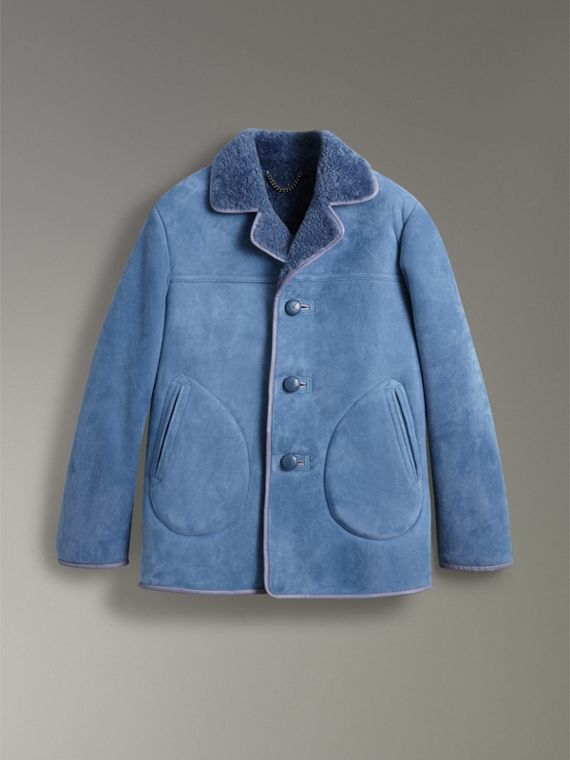 Leather Trim Shearling Jacket in Grey Blue - Men | Burberry Singapore - cell image 3