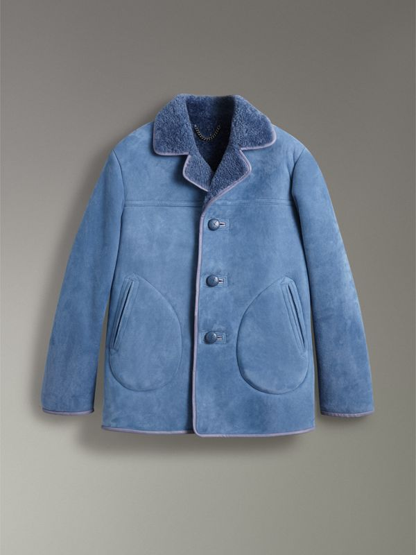 Leather Trim Shearling Jacket in Grey Blue - Men | Burberry - cell image 3
