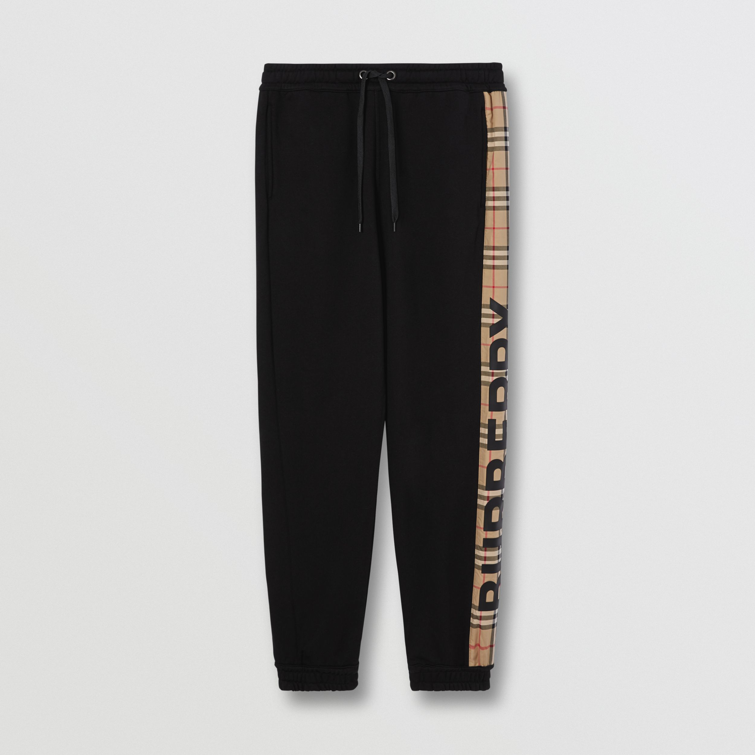 Logo Print Check Panel Cotton Jogging Pants in Black - Men | Burberry - 4