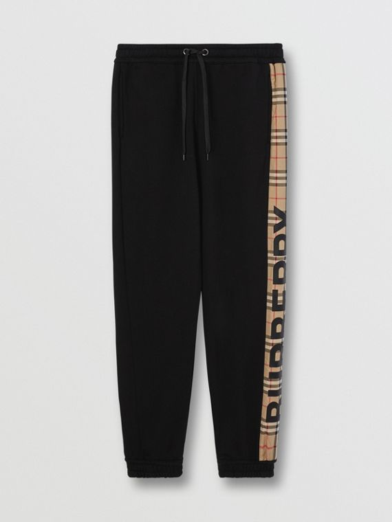 Logo Print Check Panel Cotton Trackpants in Black