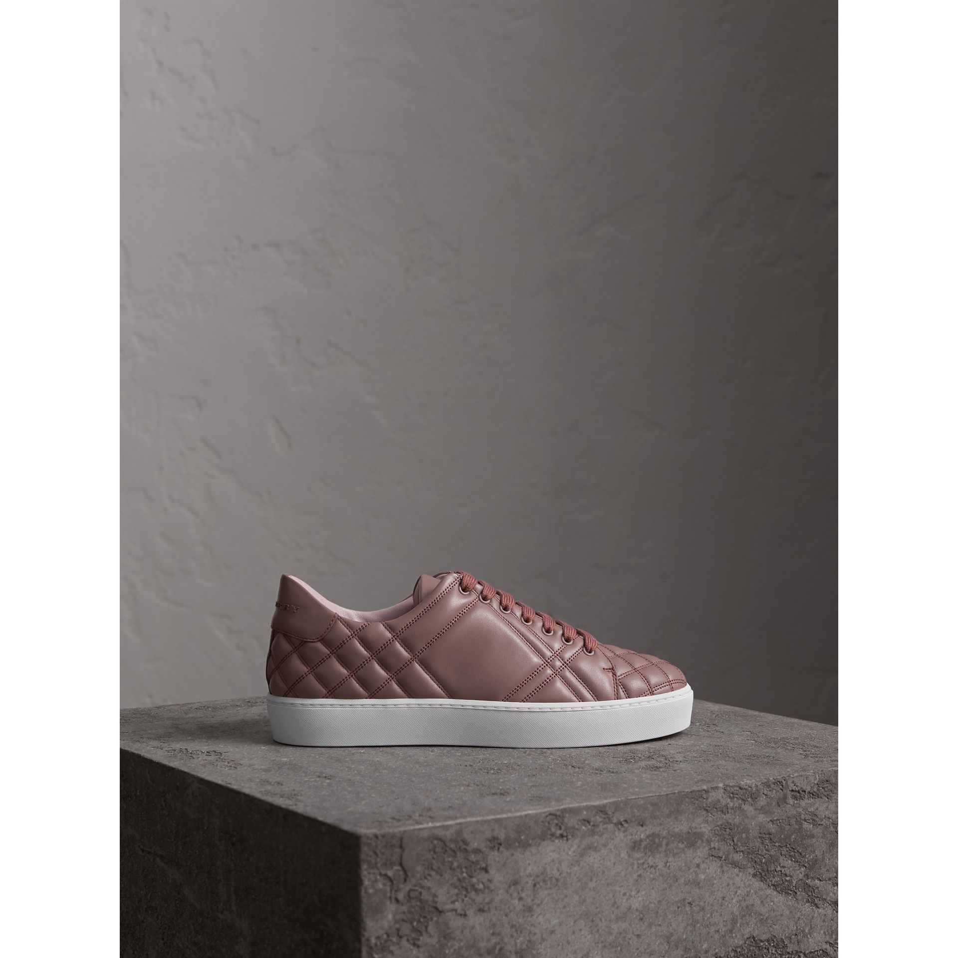 Check-quilted Leather Trainers in Ivory Pink - Women | Burberry - gallery image 4