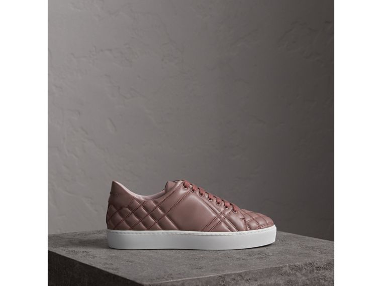 Check-quilted Leather Sneakers in Ivory Pink - Women | Burberry - cell image 4