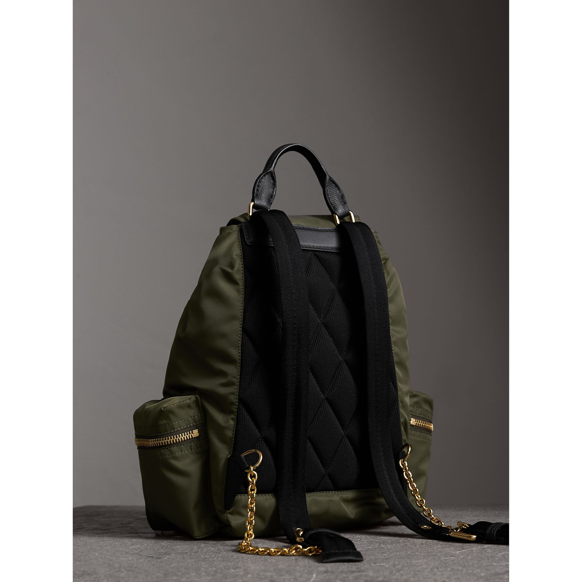 The Medium Rucksack in Technical Nylon and Leather in Canvas Green - Women | Burberry United Kingdom - gallery image 3
