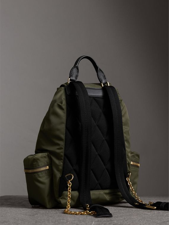 The Medium Rucksack in Technical Nylon and Leather in Canvas Green - Women | Burberry United Kingdom - cell image 3