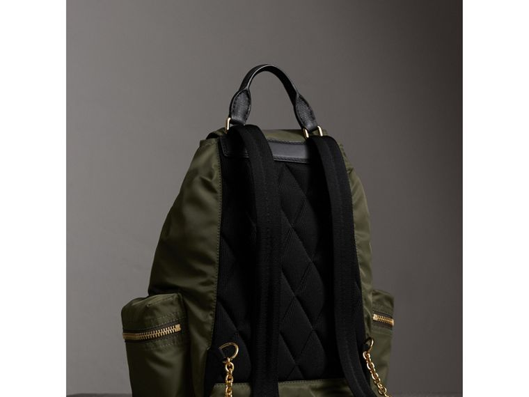 The Medium Rucksack in Technical Nylon and Leather in Canvas Green - Women | Burberry - cell image 4